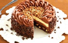 Картинка сладость, шоколад, торт, орехи, крем, десерт, dessert
