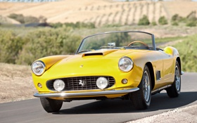 Картинка желтый, spyder, кабриолет, спайдер, 250, красивая машина, ferrari
