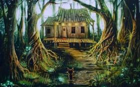 Обои лес, ночь, дом, фантастика, сказка, арт, house