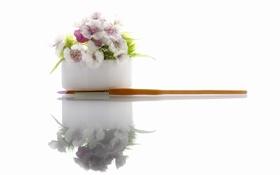 Обои цветы, отражение, кисть
