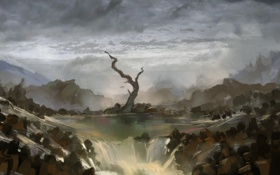 Обои тучи, река, камни, дерево, водопад, арт, нарисованный пейзаж