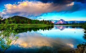 Обои небо, река, гора
