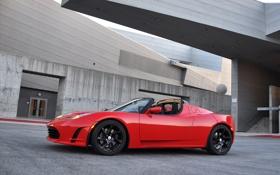 Обои авто, красный, Roadster, Tesla, тесла, электрокар