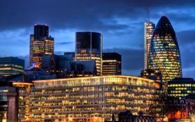 Обои Англия, Лондон, здания, ночной город, London, England