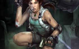 Картинка tomb raider, перчатки, девушка, пистолеты, кровь, шорты, майка