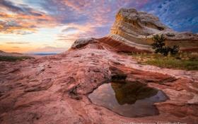 Картинка отражения, природа, скалы, лужа