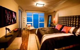 Картинка стол, кровать, интерьер, кресло, окно, desigen, телевизор.