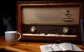 Обои фон, радио, чашка