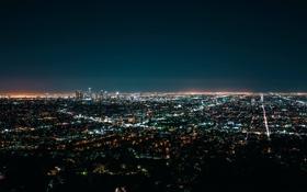 Обои Nigth, Dark, Los Angeles, Ligth, California, Skyscrapers, City