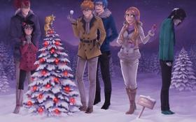 Картинка зима, шарики, снег, ночь, девушки, игрушки, елки
