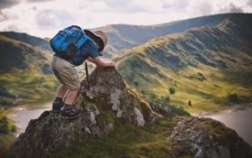 Обои природа, ребенок, путешественник, рюкзак