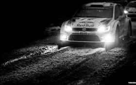 Обои Зима, Авто, Ч/б, Ночь, Белый, Снег, Volkswagen