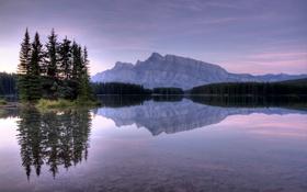 Обои лес, вода, закат, озеро, отражение, камни, гора