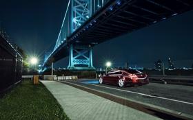 Обои ночь, мост, город, черная, Honda, Accord, хонда