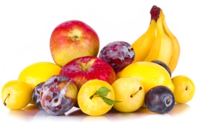 Обои бананы, сливы, алыча, лимоны, фрукты, яблоки