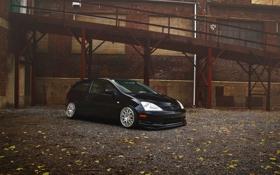 Картинка черная, Honda, black, хонда, Civic, цивик, Type R