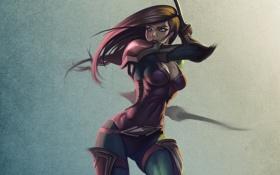 Картинка девушка, оружие, фон, арт, кинжалы, Rogue
