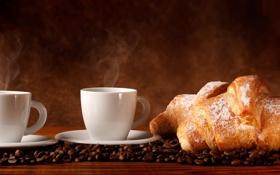 Картинка кофе, кофейные зерна, аромат, coffee, сахарная пудра, круассаны, croissants