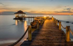 Обои sea, sunset, pier