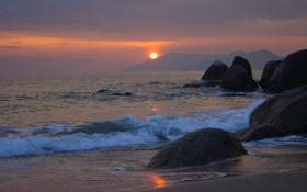 Картинка море, волны, солнце, пейзаж, закат, природа, отдых