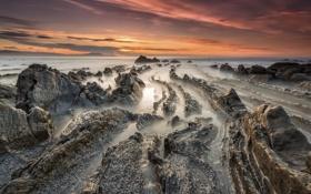 Картинка море, рассвет, берег, Испания