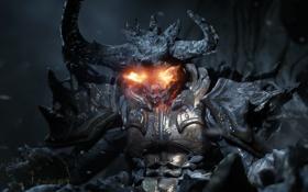 Картинка пламя, камень, демон, пробуждение, unreal engine 4