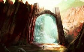 Картинка скалы, магия, человек, портал, арт, врата, завеса