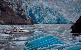 Картинка горы, земля, Природа, яхта, льды