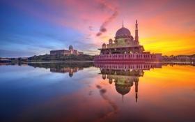 Картинка небо, облака, закат, отражение, зеркало, Малайзия, Мечеть Путра