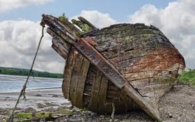 Картинка Шотландия, побережье, Ветхая заброшенная лодка, Керкубри (Kirkcudbright)