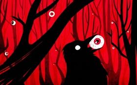 Обои лес, глаза, птица, арт, ворон, красный фон, мрачно