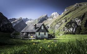 Обои дом, горы, пейзаж