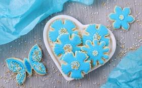 Обои цветы, бабочка, сердце, печенье, тарелка, сахар, heart