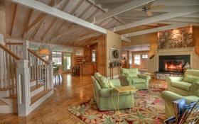 Обои дизайн, жилое пространство, вилла, дом, холл, интерьер, стиль