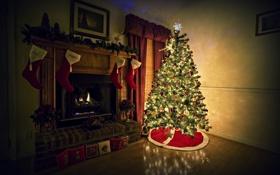 Картинка фон, комната, огонь, праздник, обои, елка, новый год