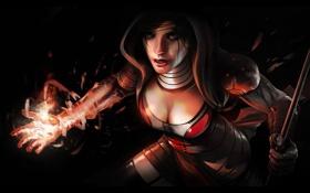 Картинка девушка, оружие, магия, арт, капюшон