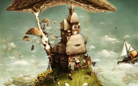 Обои мечты, дом, фантазия, человечки, арт, dreamland, by anuk
