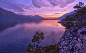 Обои sunset, mountain, lake, reflection