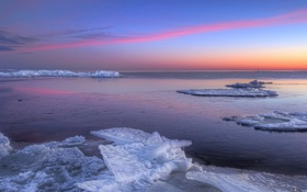 Картинка закат, пейзаж, лёд, море