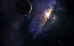 Обои космос, звезды, свет, планета, галактика