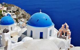 Обои море, Санторини, Греция, церковь, купола, Santorini, Oia