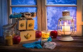 Картинка зима, свеча, window