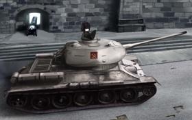 Картинка улица, девочка, танк, пушка, art, танкист, girls und panzer