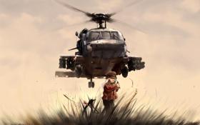 Картинка трава, рисунок, вертолет, девочка, пингвин
