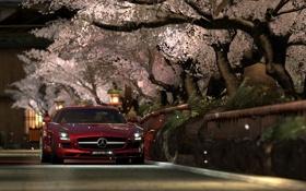 Картинка дорога, деревья, красный, улица, цвет, весна