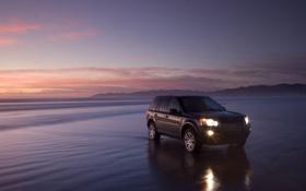 Обои закат, пляж, Land Rover, одинокий, море, freelander2