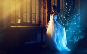 Картинка праздник, модель, платье, ёлка, красивая, photographer, позирует