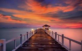 Картинка море, небо, солнце, пейзаж, закат, природа, океан