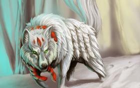 Обои белый, снег, волк, хищник, веревка, арт