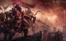 Картинка горы, город, оружие, эльф, меч, воин, арт